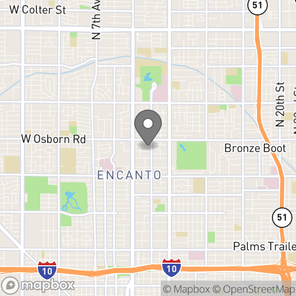 Map in Phoenix, Arizona for Diane Palacios therapy location.
