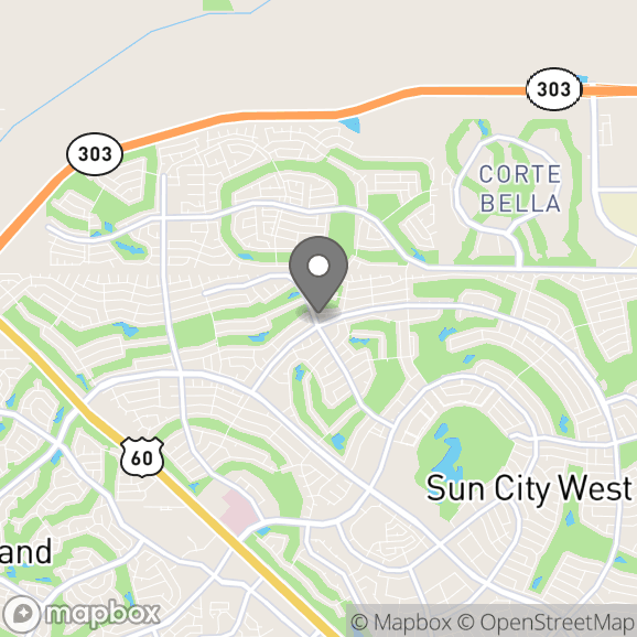 Map in Sun City West, Arizona for Olivia Farr therapy location.