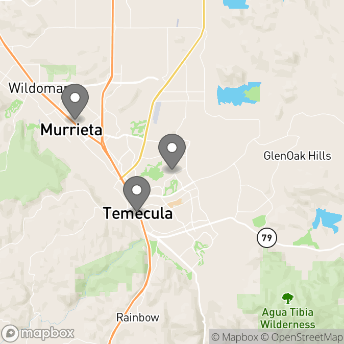 Map in Temecula, California for Hannah Hernandez therapy location.