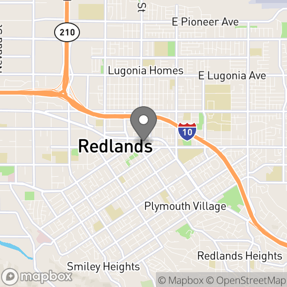 Map in Redlands, California for Kim Lennon therapy location.