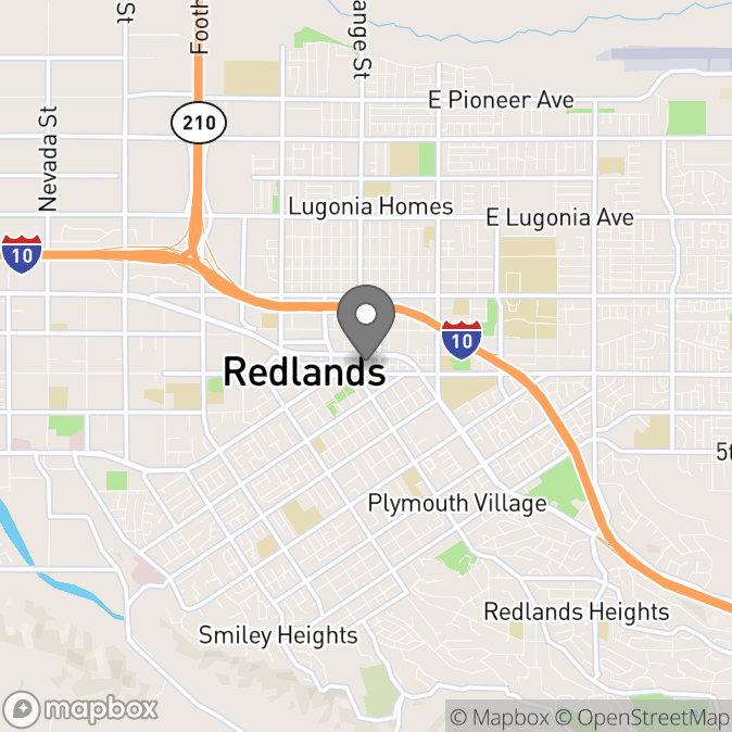 Map in Redlands, California for Kim Lennon therapy location.