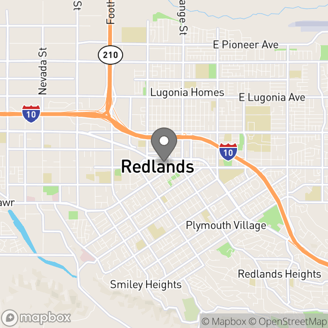Map in Redlands, California for Dakota Westlake therapy location.