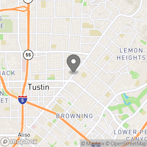 Map in Tustin, California for Chelsea Sutter (she/her) therapy location.