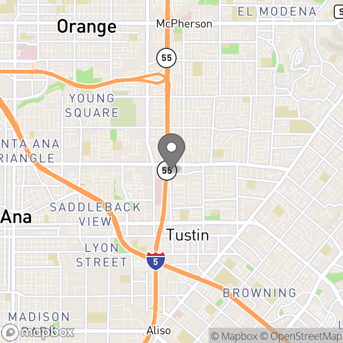 Map in Tustin, California for Sydney Hausberger therapy location.