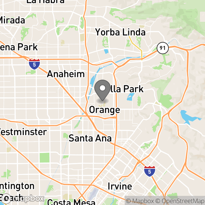 Map in Orange, California for Hiroko Saeki therapy location.
