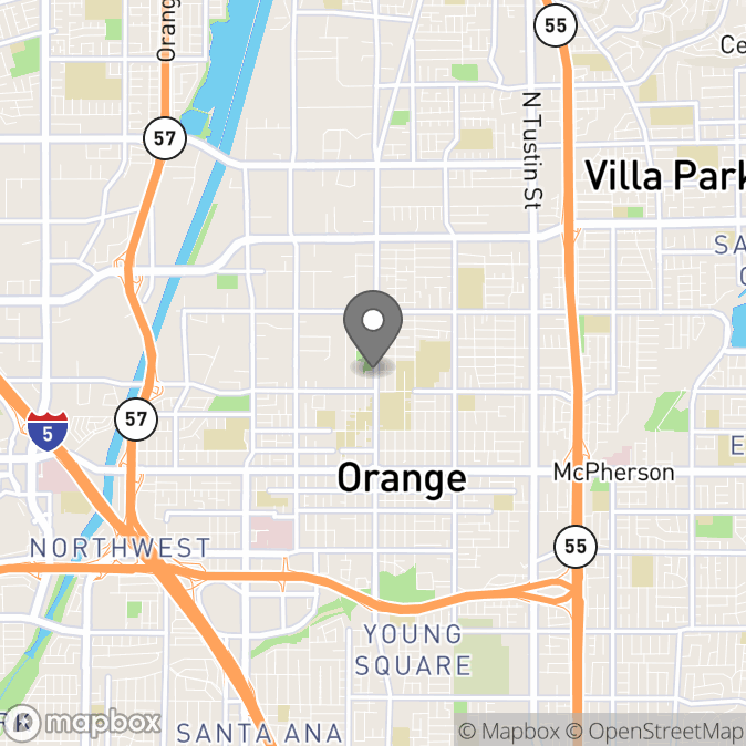 Map in Orange, California for Megan Humphreys therapy location.