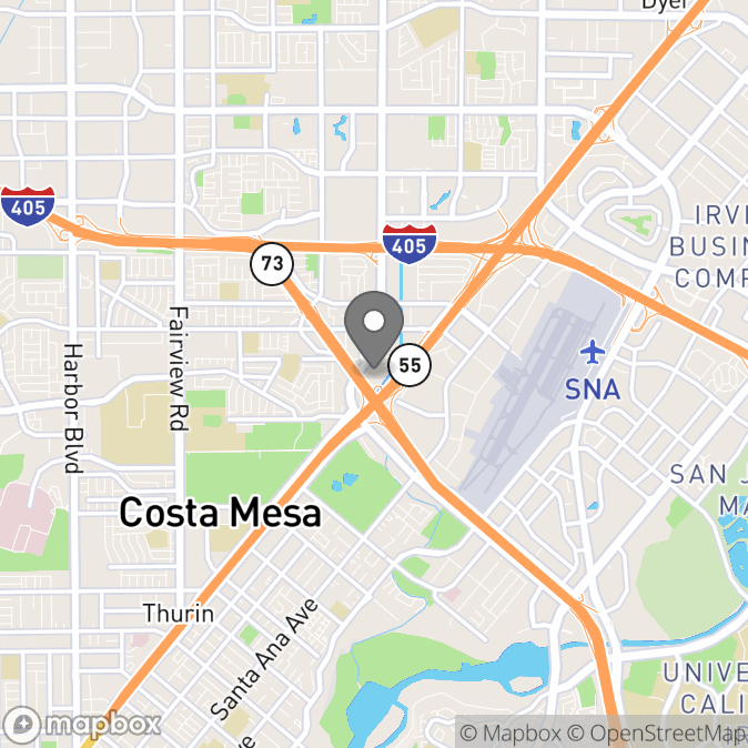 Map in Costa Mesa, California for Joan Kaufman therapy location.
