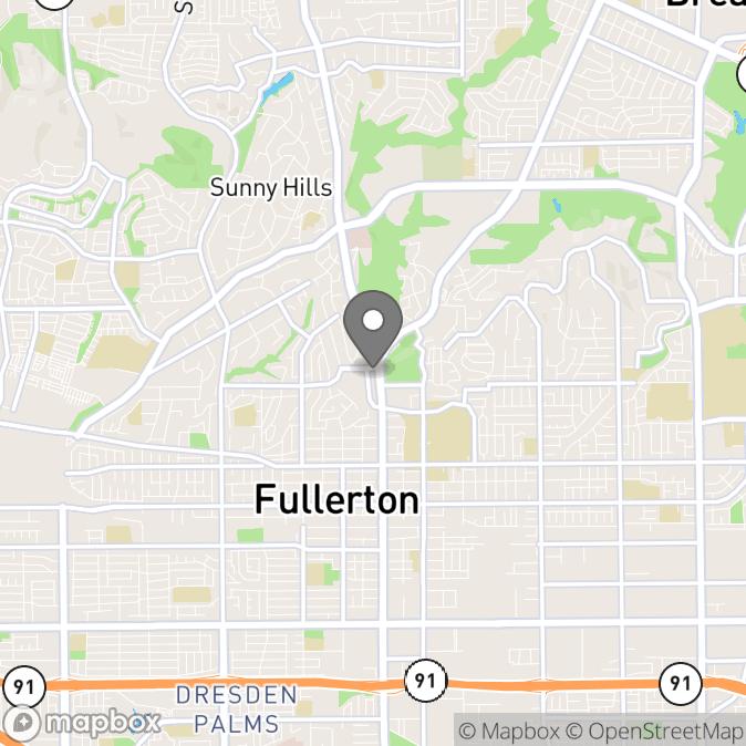 Map in Fullerton, California for Amanda Cline therapy location.