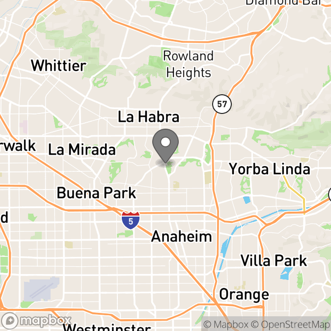Map in Fullerton, California for Sarah Finch therapy location.