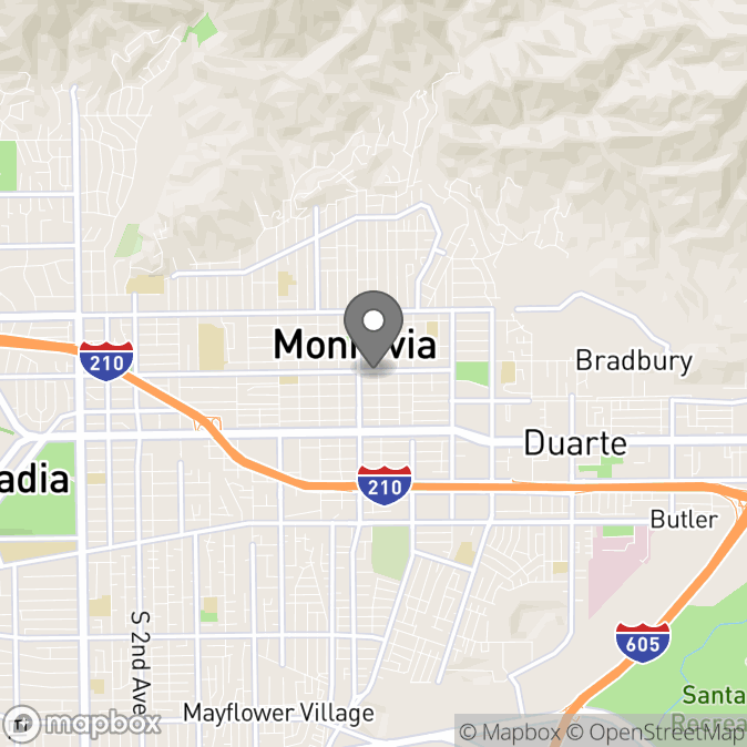 Map in Monrovia, California for Esther  Kim therapy location.