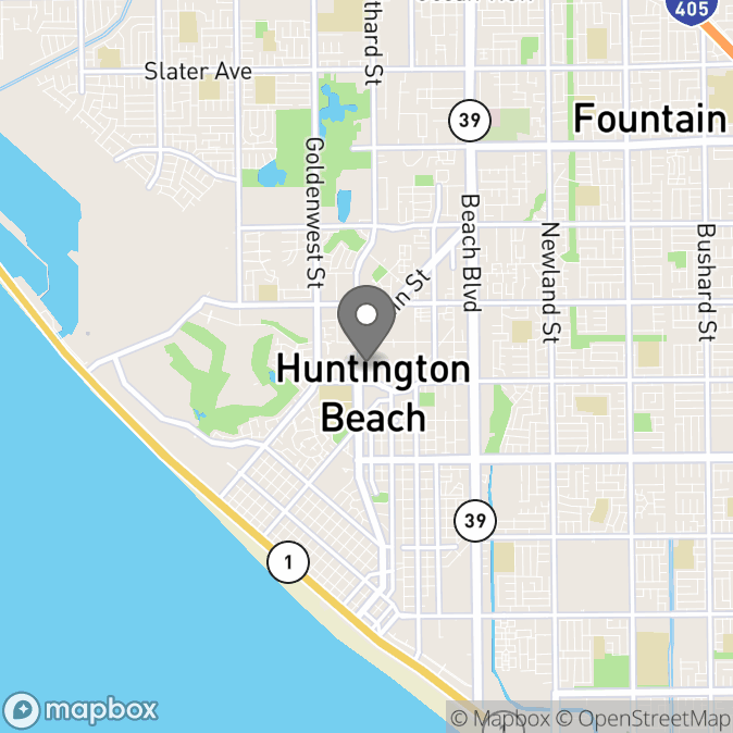 Map in Huntington Beach, California for Naomi Babcock therapy location.