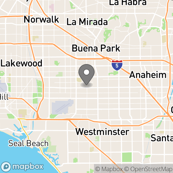 Map in Anaheim, California for Jonathan Williams therapy location.