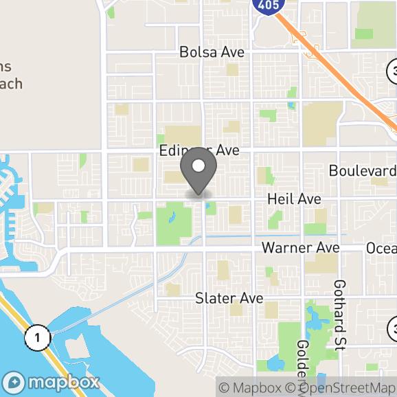 Map in Huntington Beach, California for Linda Lara therapy location.