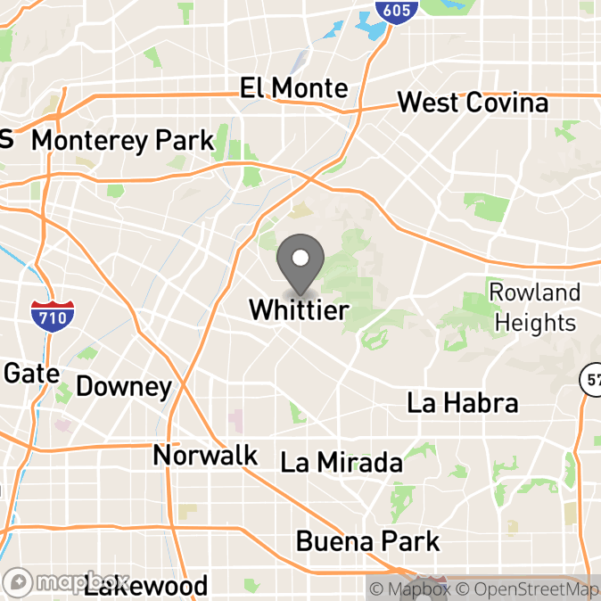 Map in Whittier, California for Christina Khouie therapy location.