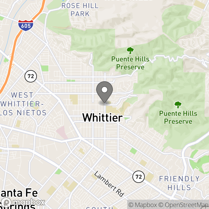 Map in Whittier, California for Alexis Lee therapy location.
