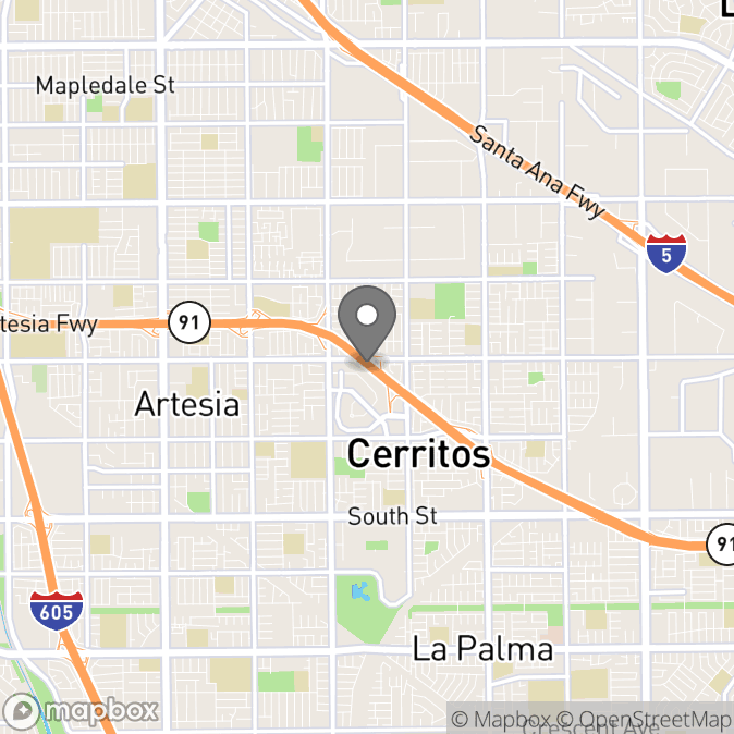 Map in Cerritos, California for Sunita Churiwala therapy location.