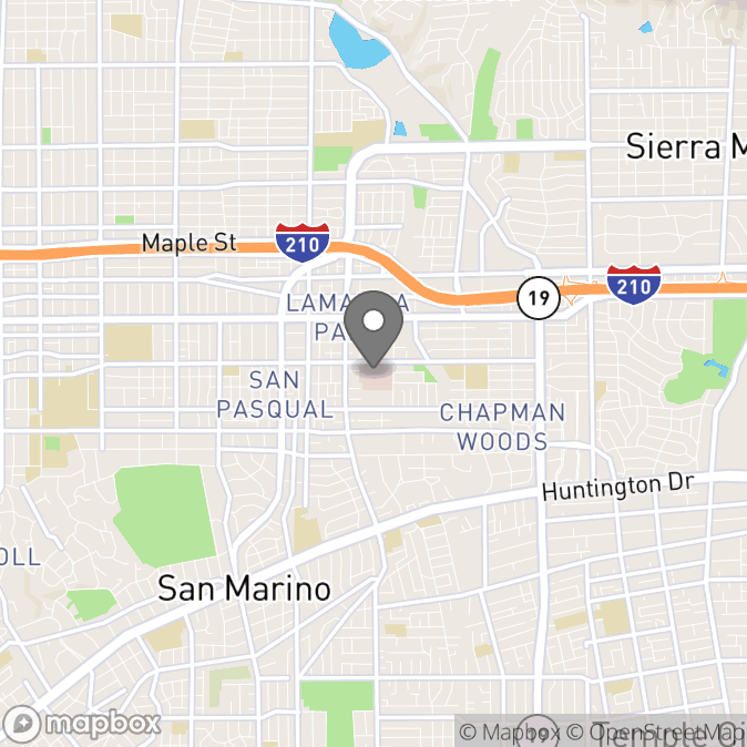 Map in Pasadena, California for Sylvia Mejia therapy location.