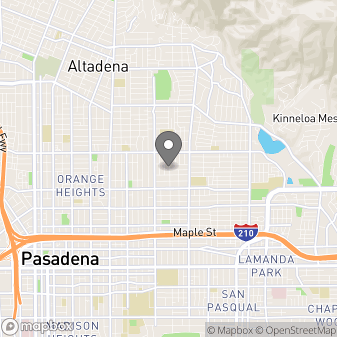 Map in Pasadena, California for Elizabeth Munoz therapy location.