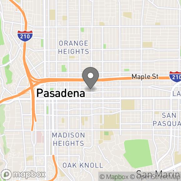 Map in Pasadena, California for Cassandra Carrillo therapy location.