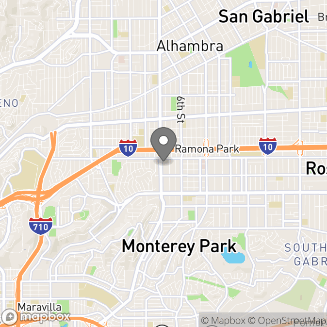 Map in Monterey Park, California for Lorena Lamas therapy location.