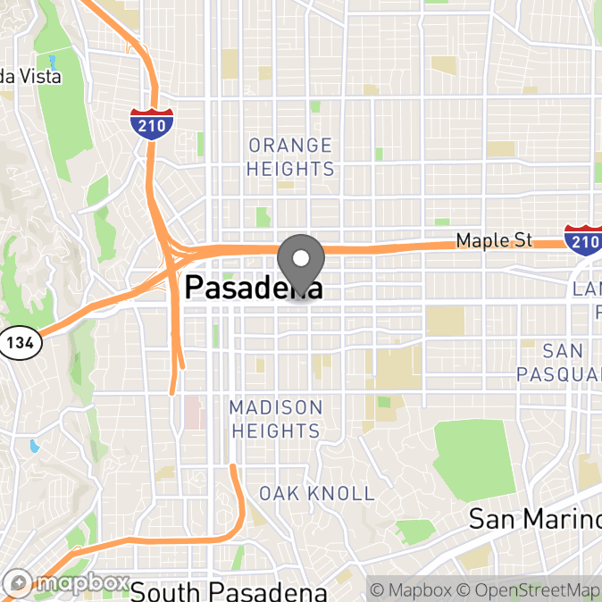 Map in Pasadena, California for Alique Bedikian therapy location.