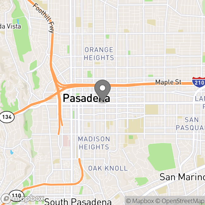 Map in Pasadena, California for Katy Niles therapy location.