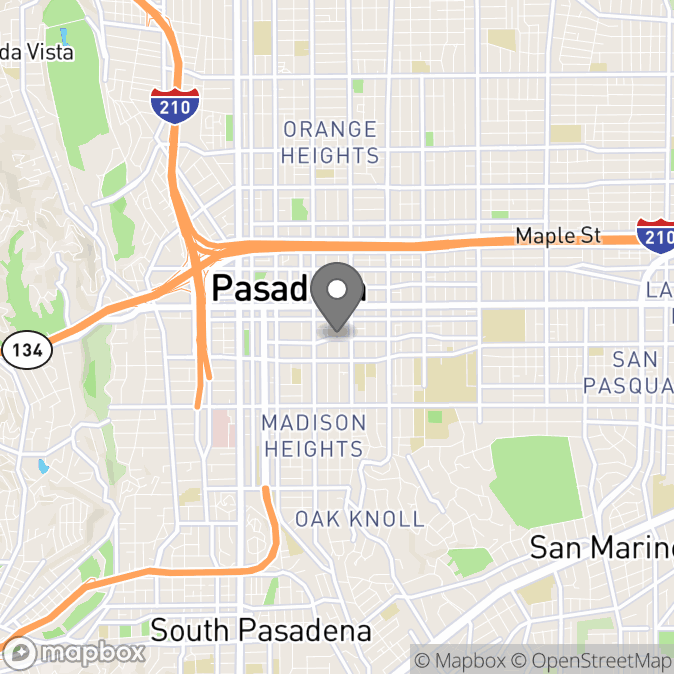 Map in Pasadena, California for William  James Jones therapy location.