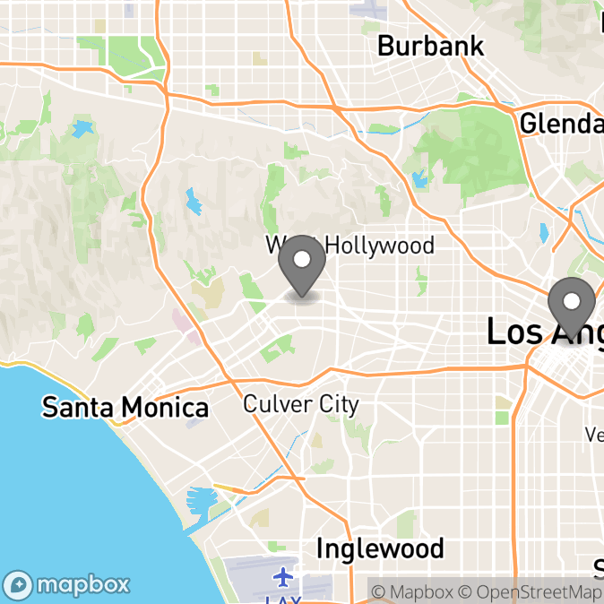 Map in Los Angeles, California for Paula E. Bruce, Ph.D. & Associates therapy location.