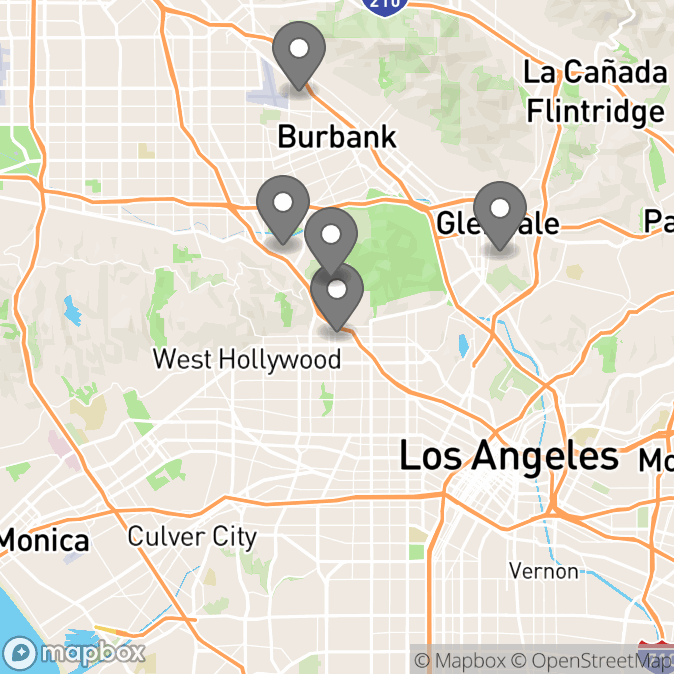 Map in Universal City, California for Marco Viteri therapy location.