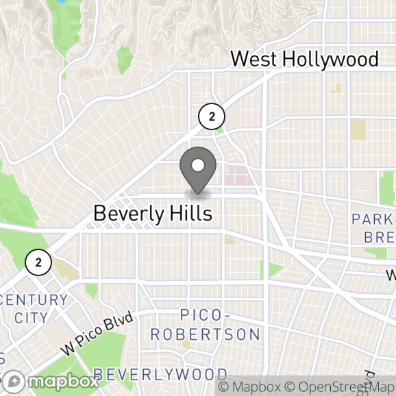 Map in Beverly Hills, California for Roz Hedayatian therapy location.