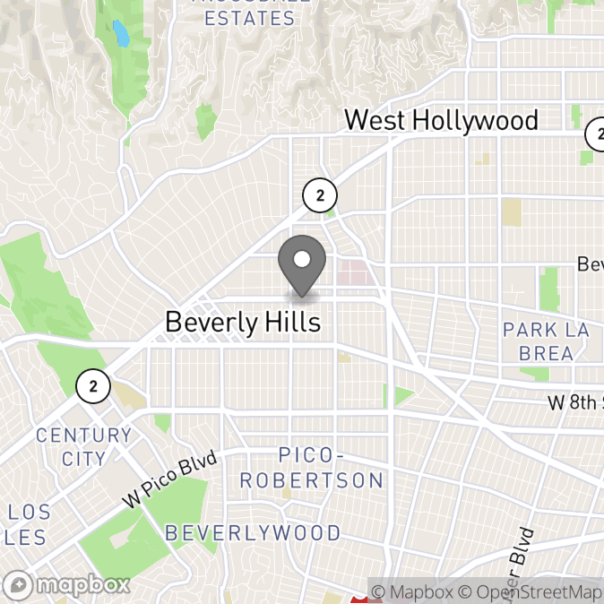 Map in Beverly Hills, California for Amber Robinson therapy location.