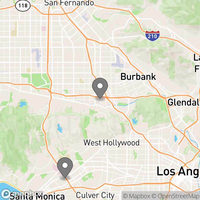Map in Studio City, California for Adella Jaeger therapy location.