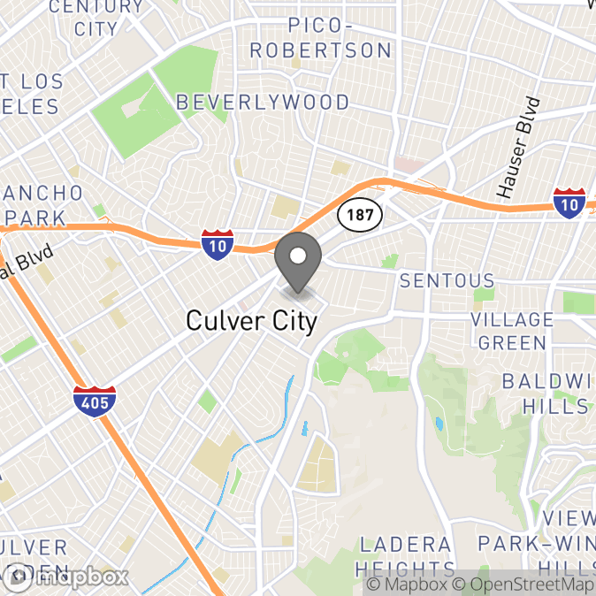 Map in Culver City, California for Justin Mink therapy location.