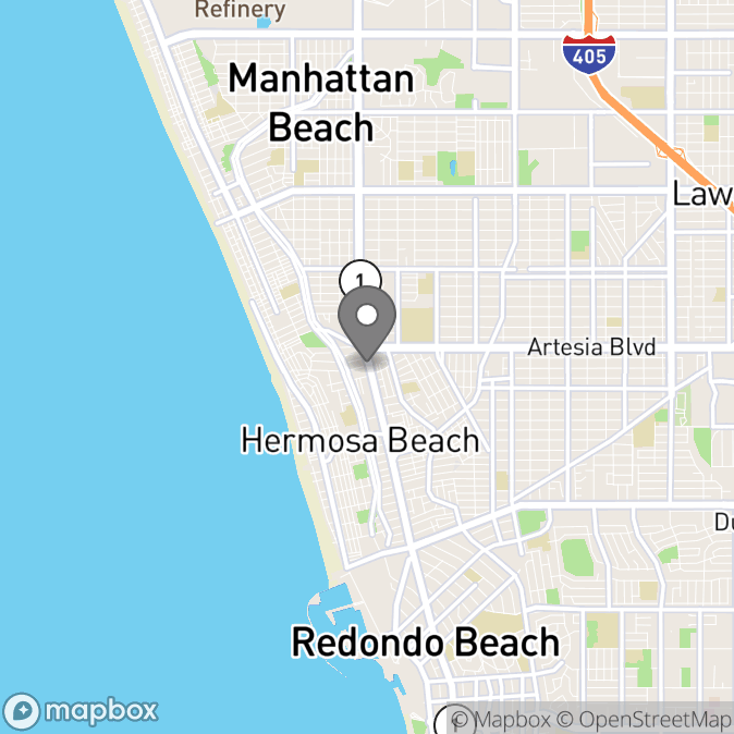 Map in Hermosa Beach, California for Yulia Koba therapy location.