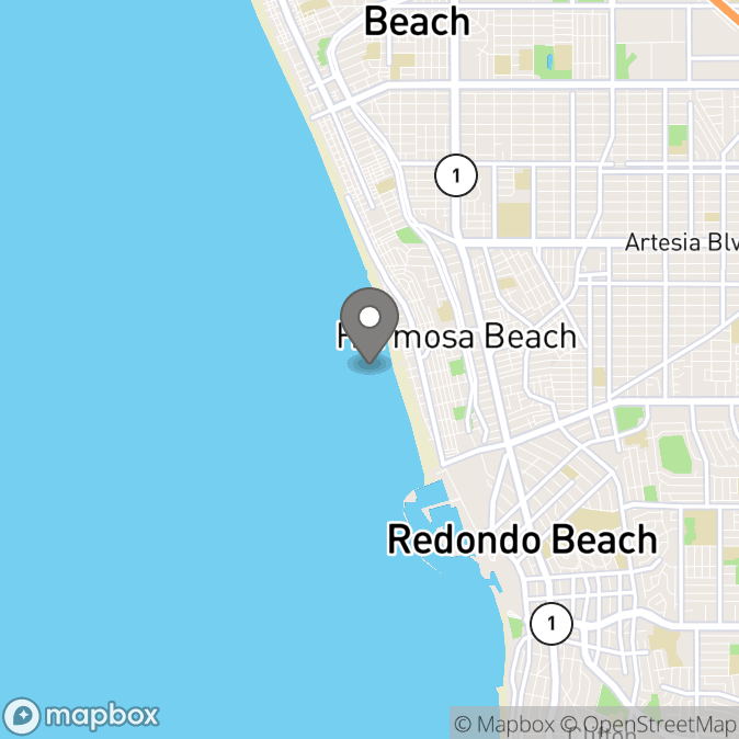 Map in Hermosa Beach, California for Rachel Harris therapy location.