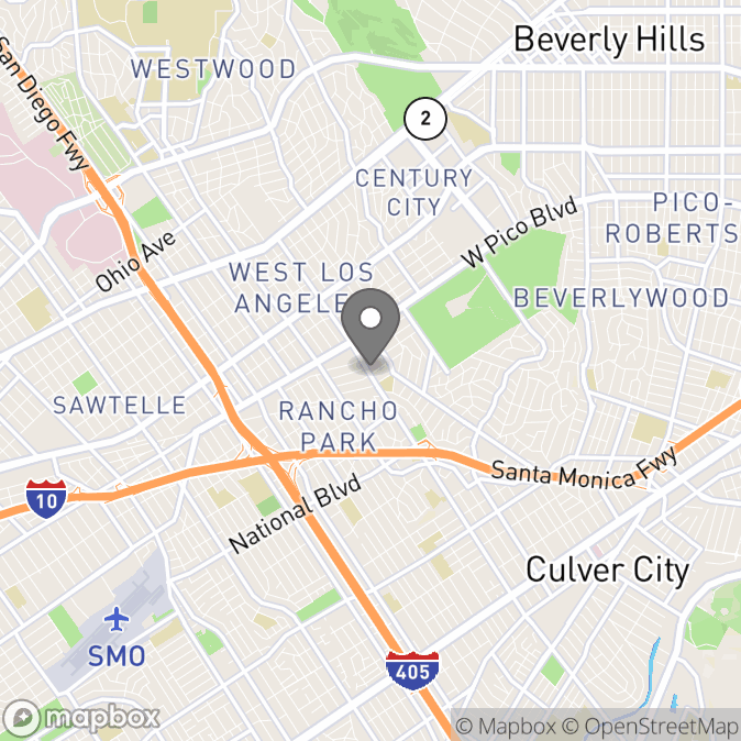 Map in Los Angeles, California for Lisa Lainer, Ph.D. therapy location.