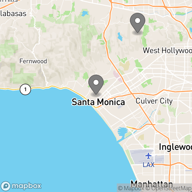 Map in Beverly Hills, California for Yael Sherne therapy location.