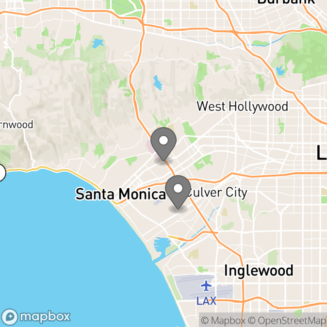 Map in Los Angeles, California for Hannah Bonaparte therapy location.