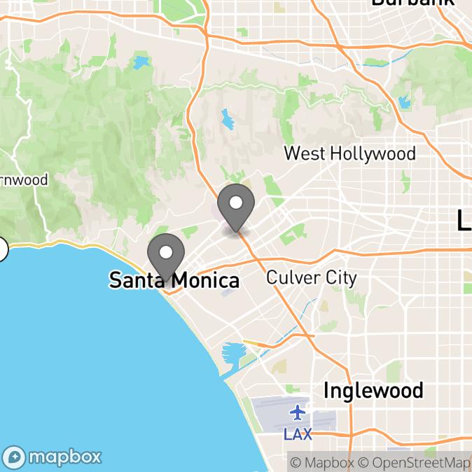 Map in Santa Monica, California for Hannah Bonaparte therapy location.