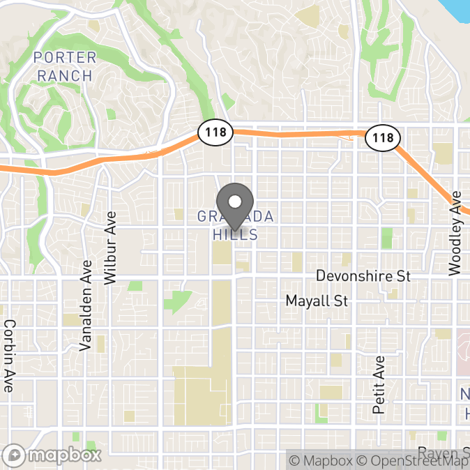 Map in Granada Hills, California for Michelle Kuranishi therapy location.