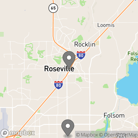 Map in Roseville, California for Relationship Therapy Center therapy location.