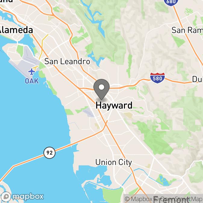 Map in Hayward, California for Hannah Joharchi therapy location.