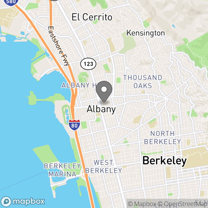 Map in Albany, California for Tiffany Pippen therapy location.