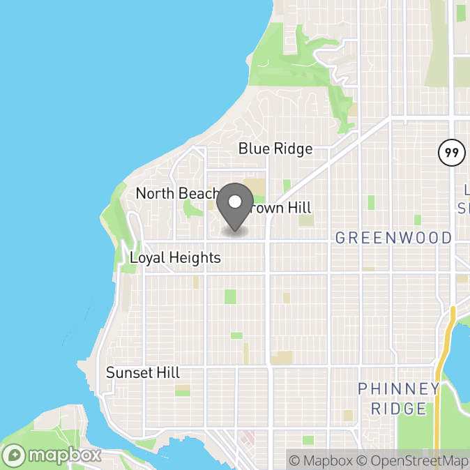 Map in Seattle, Washington for Tessa Raebeck therapy location.