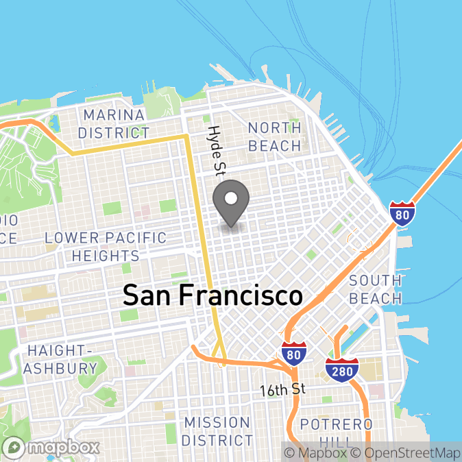 Map in San Francisco, California for Lisa Andresen therapy location.