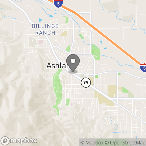 Map in Ashland, Oregon for Lucius Wheeler therapy location.