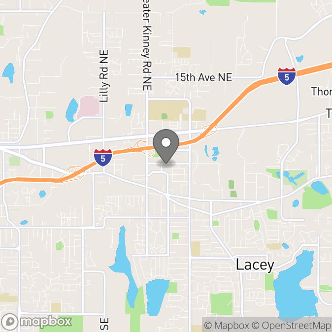 Map in Lacey, Washington for Tracy Morris therapy location.