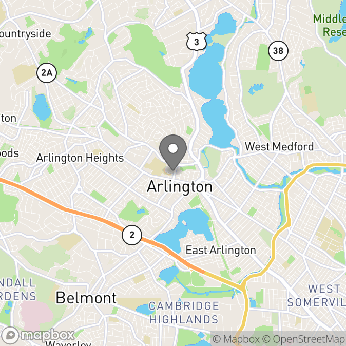 Map in Arlington, Massachusetts for Katie Aguayo therapy location.
