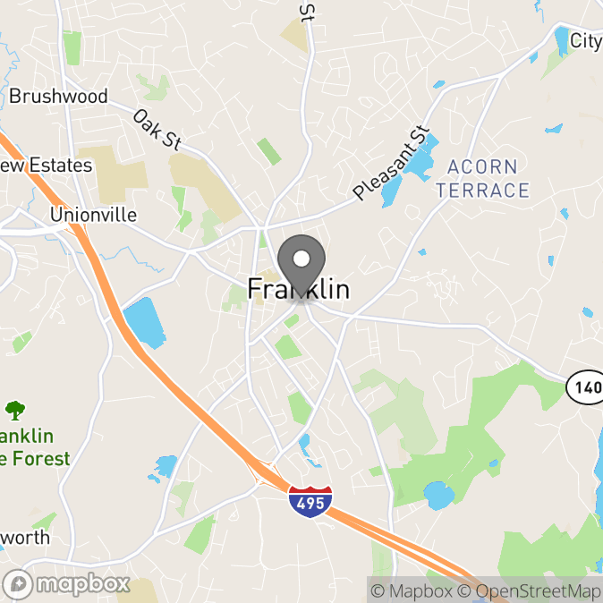 Map in Franklin, Massachusetts for Tatiana Szulc therapy location.