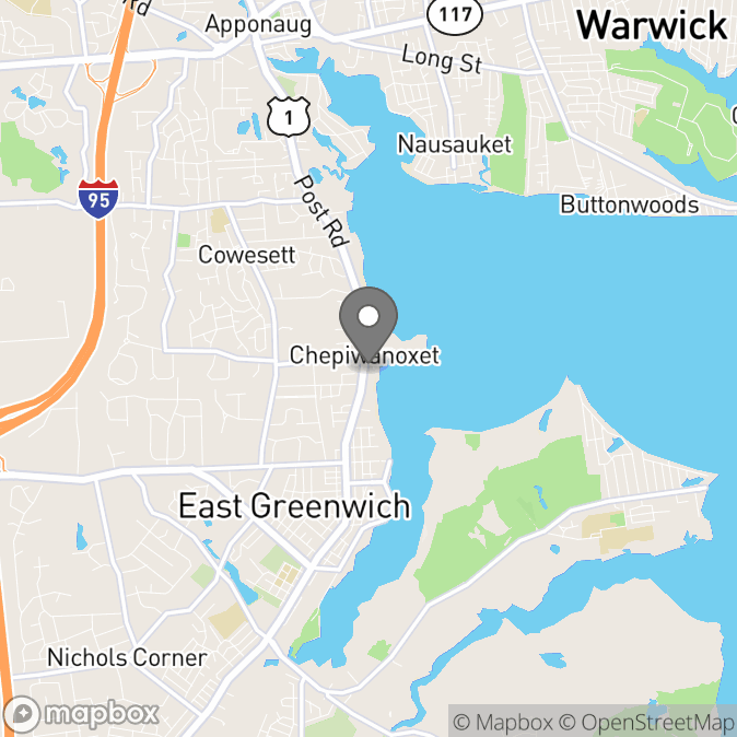 Map in East Greenwich, Rhode Island for Toni Schmeider therapy location.